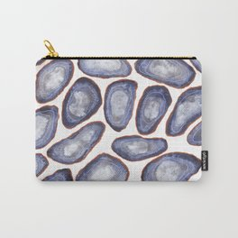 Grey Watercolor Geode Patten, Silver and Blue Agate slice patten Carry-All Pouch