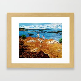 Clouds, pillows flung in air  and sky  closes on the deserted beach Framed Art Print