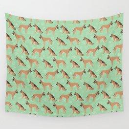 German Shepherd Dogs Green Background Wall Tapestry