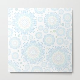 light blue mandalas pattern Metal Print