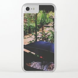 Napping in the rain Clear iPhone Case