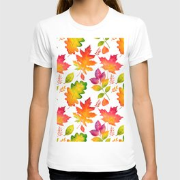Fall Leaves Watercolor - White T-shirt