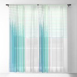 Ombre Grid knot thread pattern Sheer Curtain