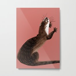 Asian small-clawed otter Coral pink Metal Print