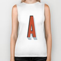 letter Biker Tanks featuring Letter A by INDUR