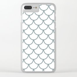 Neutral Blue Fish Scales Pattern Clear iPhone Case