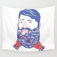 beard Wall Tapestries featuring Animals in Beard by David Penela