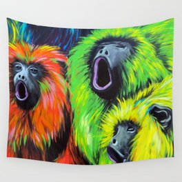 Urban Street Art: Screaming Fluorescent Monkeys Wall Tapestry