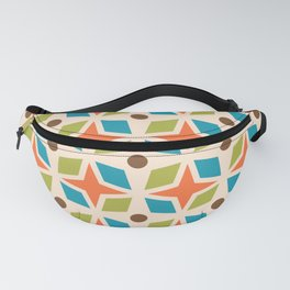 Mid Century Modern Abstract Star Dot Pattern 441 Orange Brown Turquoise Chartreuse Fanny Pack
