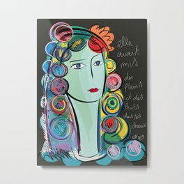 Girl with Flowers and Fruits in her hair Metal Print