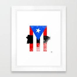 Puerto Rico + Flag Framed Art Print
