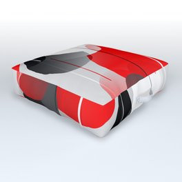 Modern Anxiety Abstract - Red, Black, Gray Outdoor Floor Cushion
