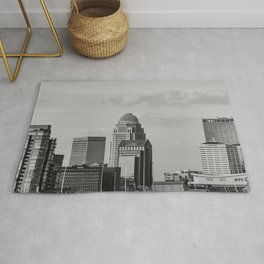 Downtown Louisville Skyline - Black and White Rug