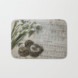Snowdrops and Vintage Watches Bath Mat