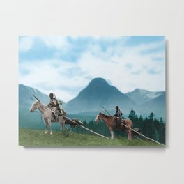 Waiting For The Hunters - Blackfoot Indian Women Metal Print