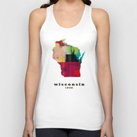 wisconsin Tank Tops featuring Wisconsin state map modern by bri.buckley