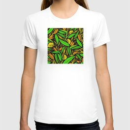 Tropical Island Lizards and Leaves Pattern T-shirt