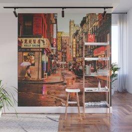 New York City Rain in Chinatown Wall Mural