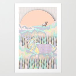 Deer Forest Art Print