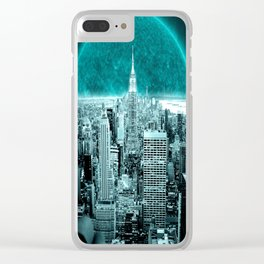 New New York Another World Aqua Teal Clear iPhone Case