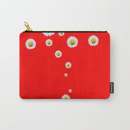 CHINESE RED WHITE DAISIES MODERN ART Carry-All Pouch