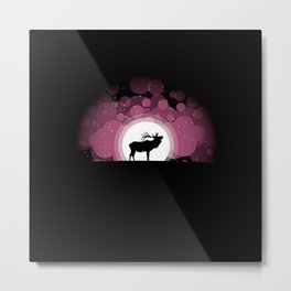 Elk Silhouette Metal Print