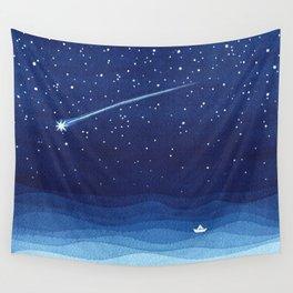 Falling star, shooting star, sailboat ocean waves blue sea Wall Tapestry