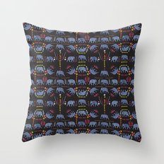 Patterned elephants  Throw Pillow