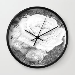 Pink Roses in Anzures 2 Charcoal Wall Clock