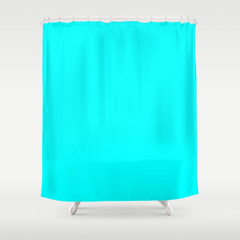 Neon Aqua Blue Bright Electric Fluorescent Color Shower Curtain By Podartist Society6
