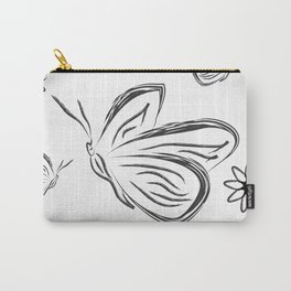 butterflies and flowers. Black and white silhouette sketch butterflies and flowers Carry-All Pouch