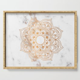 Copper flower mandala - marble Serving Tray