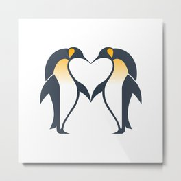 Kissing penguins Metal Print