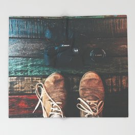 SHOES - CANON - CAMERA - PHOTOGRAPHY Throw Blanket