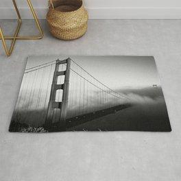 Golden Gate Bridge | Black and White San Francisco Landmark Photography Shot From Marin Headlands Rug
