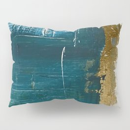 Rain [3]: a minimal, abstract mixed-media piece in blues, white, and gold by Alyssa Hamilton Art Pillow Sham