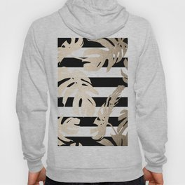 Simply Tropical Palm Leaves on Stripes Hoody