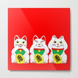Three Wise Lucky Cats on Red Metal Print