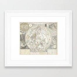 Star map of the Southern Starry Sky Framed Art Print