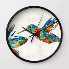 Colorful Hummingbird Art by Sharon Cummings Wall Clock