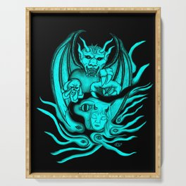 Midnight Dream , Black and Green Design Serving Tray