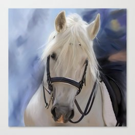 Painted White Horse head Canvas Print