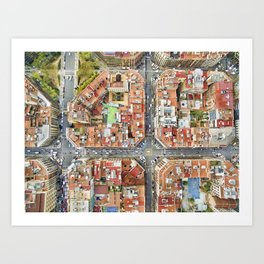 Aerial view of Barcelona Art Print
