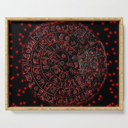 Phaistos Disc in Red Serving Tray
