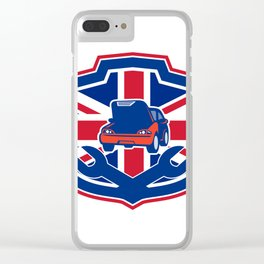 British Auto Repair Shop Union Jack Flag Crest Clear iPhone Case