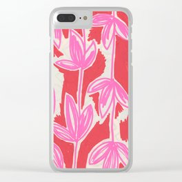 Red and Pink Sketchbook Botanical Clear iPhone Case