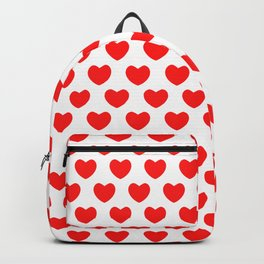 Red Hearts on White Backpack