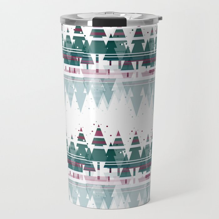 Family Christmas Trees in Snowy Winter ~ Christllax's Line Travel Mug