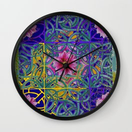 FAIRIES  PURPLE YELLOW CELTIC PINK FLORAL ART PATTERN Wall Clock