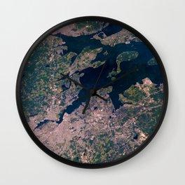 Providence, Newport, Narragansett Bay, Rhode Island Satellite Photograph Wall Clock